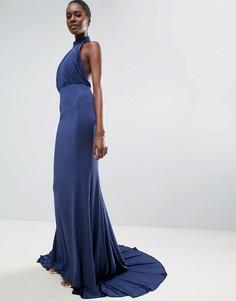 Платье макси с халтером City Goddess - Темно-синий