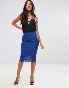 Кружевная юбка миди Vesper - Синий