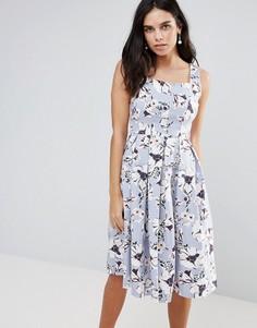 Приталенное платье миди с цветочным принтом Vesper - Синий
