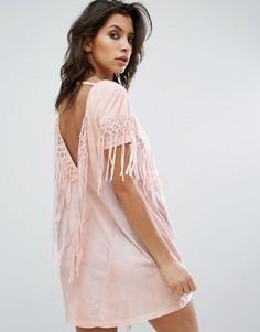 Платье с бахромой и принтом тай-дай Religion - Розовый