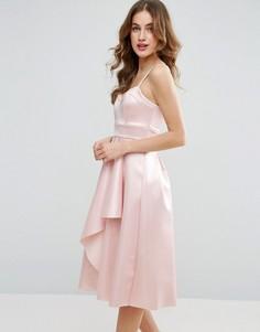 Атласное платье миди с драпировкой ASOS - Розовый