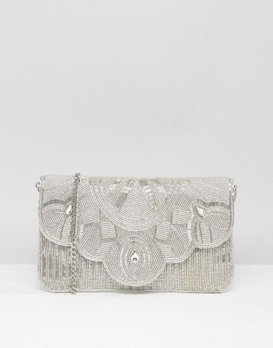 Серебристый клатч с бисером Dune Ekelly - Серебряный