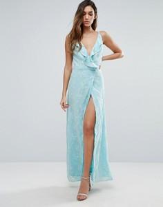 Платье макси с запахом и оборками Jarlo - Синий