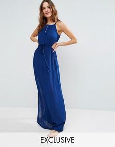 Akasa Key Hole Maxi Beach Dress - Синий