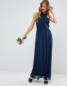 Шифоновое платье макси с перекрестом и сборками ASOS - Темно-синий