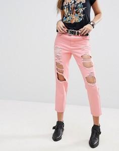 Рваные розовые джинсы в винтажном стиле PrettyLittleThing - Розовый