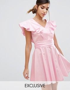 Хлопковое короткое приталенное платье с оборками Closet London - Розовый