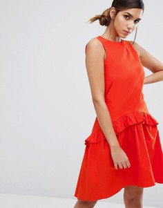 Платье с заниженной талией и рюшами Closet London - Оранжевый