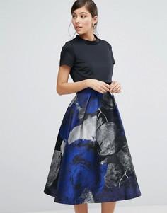 Платье-трапеция с жаккардовой юбкой Coast Lucy - Темно-синий