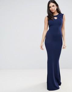 Платье макси с годе и вырезом капелькой Jessica Wright - Темно-синий