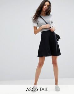 Короткая расклешенная юбка с карманами ASOS TALL - Черный