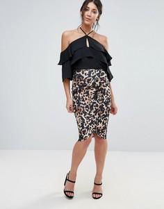 Асимметричная юбка с леопардовым принтом Jessica Wright - Мульти
