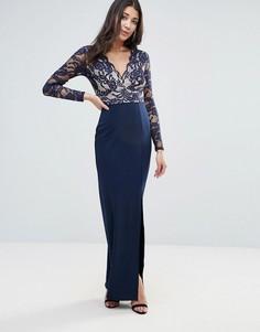 Платье макси с кружевными рукавами и разрезом сбоку Jessica Wright - Синий