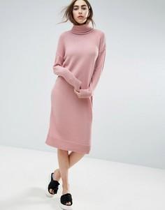 Вязаное платье с высокой горловиной ASOS - Розовый
