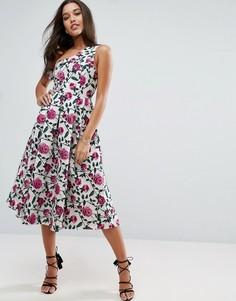 Асимметричное жаккардовое платье миди для выпускного с цветочным рисунком ASOS - Мульти