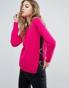 Джемпер с разрезом и кольцами сбоку ASOS - Розовый
