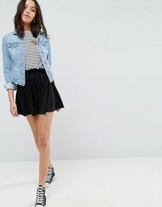 Короткая расклешенная юбка из трикотажа со шнурком ASOS - Черный