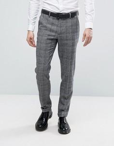 Серые клетчатые узкие брюки в строгом стиле ASOS - Серый