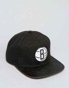 Mitchell & Ness Ultimate Snapback Cap Brooklyn Nets with Textured Leather Visor - Черный