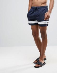 Короткие шорты для плавания с двумя полосками Bravesoul - Темно-синий