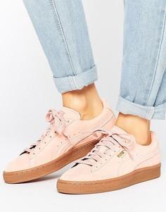 Розовые замшевые классические кроссовки на резиновой подошве Puma - Розовый