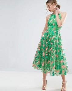 Платье миди для выпускного с цветочной вышивкой и открытой спиной ASOS SALON - Мульти