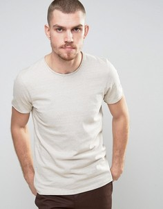 Selected Homme T-Shirt with Raw Hem in Marl Stripe - Stone
