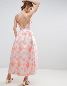Платье миди для выпускного с жаккардовыми бретельками на спине ASOS SALON - Розовый