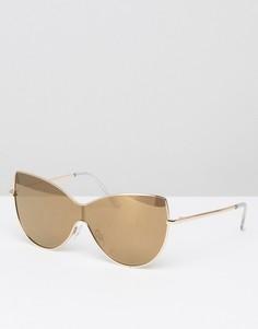Солнцезащитные очки-маска в стиле oversize с металлической оправой ASOS - Золотой