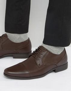 Коричневые туфли дерби из искусственной кожи с тиснением ASOS - Коричневый