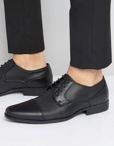 Черные туфли дерби из искусственной кожи с фактурной отделкой ASOS - Черный