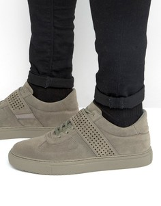 ASOS Lace Up Trainers In Grey Faux Suede With Perforated Strap - Серый