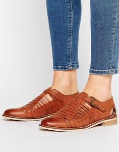 Плетеные кожаные туфли на плоской подошве ASOS MONUMENT - Рыжий