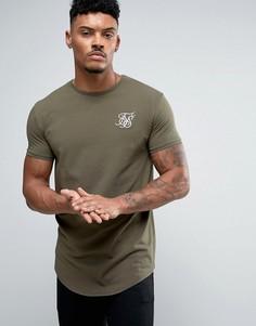 SikSilk Muscle Fit T-Shirt In Green - Зеленый
