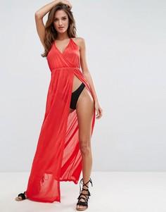 Пляжное трикотажное платье макси с глубоким вырезом ASOS - Красный