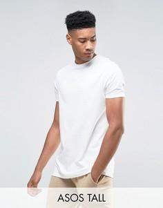 Светло-бежевая супердлинная футболка ASOS TALL - Белый