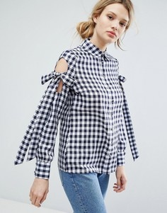 Рубашка в клеточку с лентами на плечах Lost Ink - Темно-синий