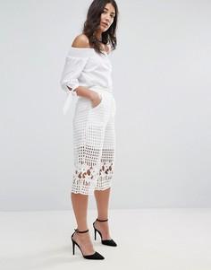 Вязаная крючком юбка-шорты Glamorous - Белый