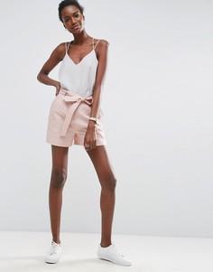 Льняные шорты с ремнем ASOS - Розовый