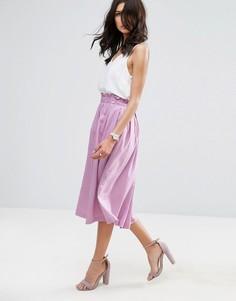 Юбка для выпускного из ткани с добавлением льна ASOS - Фиолетовый