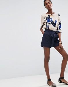 Льняные шорты с ремнем ASOS - Темно-синий