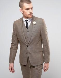 Приталенный пиджак в клетку с булавкой-цветком на лацкане Gianni Feraud Heritage - Коричневый