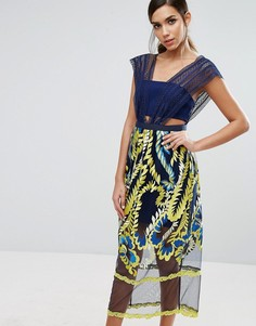 Three Floor Midi Dress with Embroided Skirt - Мульти