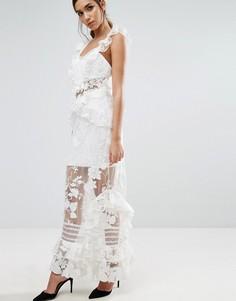 Three Floor Maxi Dress with Frill Detail - Кремовый