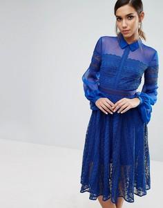 Кружевное платье миди с прозрачными рукавами Three Floor - Синий