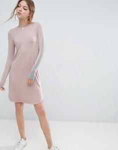 Облегающее платье миди с полосками на рукавах ASOS - Розовый