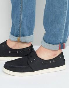 TOMS Culver Linen Boat Shoes - Черный