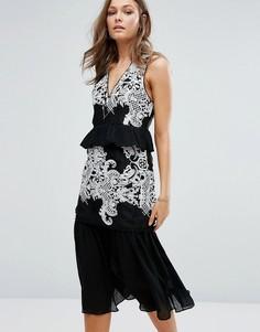 Ярусное платье миди с вышивкой Foxiedox - Черный