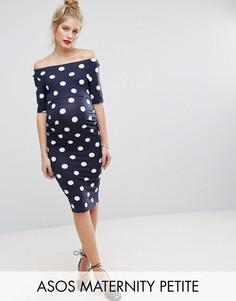 Платье в горошек ASOS Maternity PETITE - Темно-синий