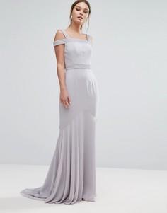 Платье макси с лифом-бандо и ассиметричным краем Jarlo - Серый